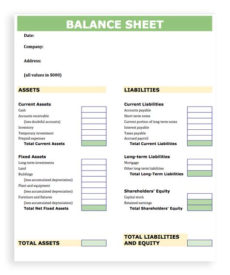 balance sheet templates balance sheet template excel account best templates