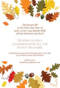 Thanksgiving Templates by Free Printable Thanksgiving Invitation Templates
