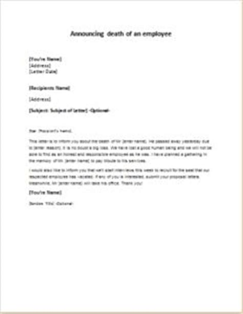 payroll change announcement letter announcing the death of an employee s father