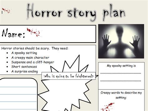 story template ks1 ks1 2 horror story planning template by newromantic