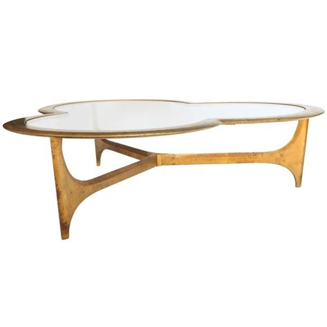 gold leaf and glass trefoil coffee table