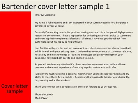 sle cover letter for bartender bartender cover letter