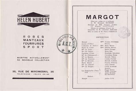 theatre pierre fresnay programme programmes originaux de th 233 226 tre margot de 201 douard