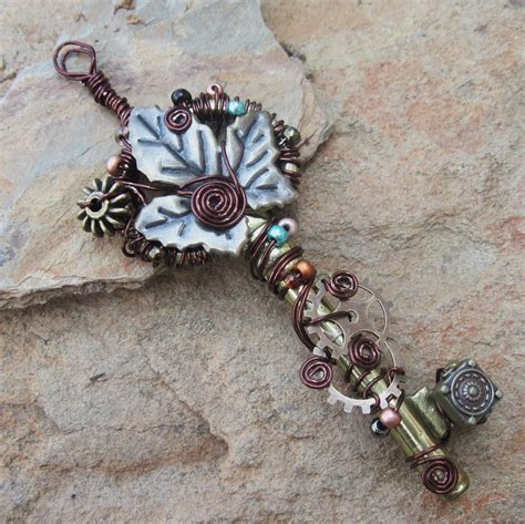 Handmade Wire Jewellery - shamble ramble handmade wire wrapped steunk key pendent