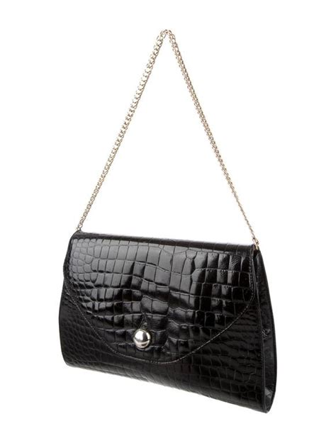 Guess Who The Vintage Fendi Crocodile Tote by Fendi Black Crocodile Leather Gold Chain Flap