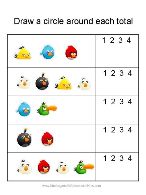 pattern matching numbers kindergarten math worksheets angry birds math worksheets