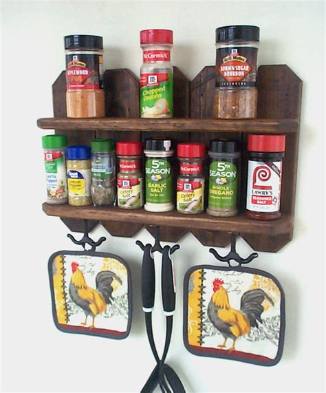 home decor product farmhouse spice rack rustic home decor