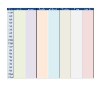 7 day schedule template blank week schedule template calendar template 2016