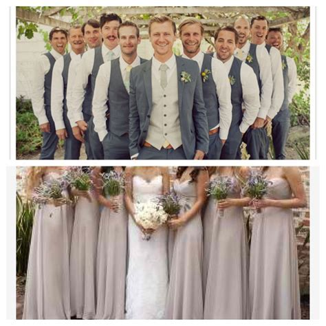 Now that's a good looking wedding party   I love grey