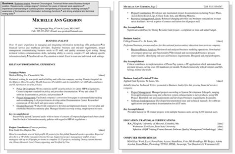Resume Writing For Dummies Sle Resume For A Business Position Dummies