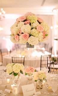 Pastel green and pink hydrangea tall wedding reception