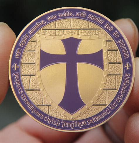 Koin Cross Crusader Knights Templar Putih Silver Commemorative Coin purple holy cross crusader souvenir coin antique