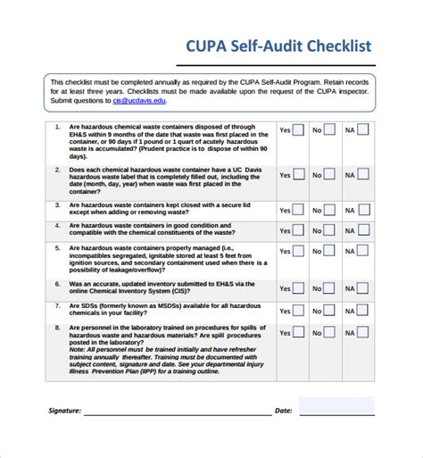 inspiring template form of self audit checklist with 8