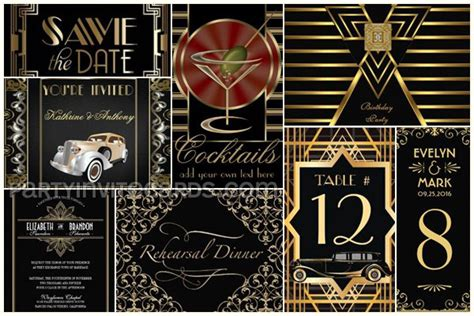 tone and theme of the great gatsby stylish glam gold black art deco invitations