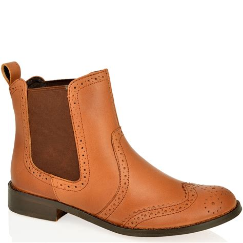 womens low ankle slip pull on chelsea brogue