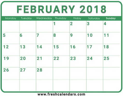calendar 2018 template pdf february 2018 printable calendar templates