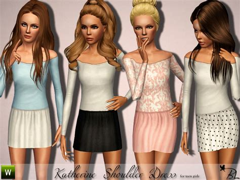 Sims 3 Teen Beach Movie Outfits | black lily s teen katherine shoulder dress