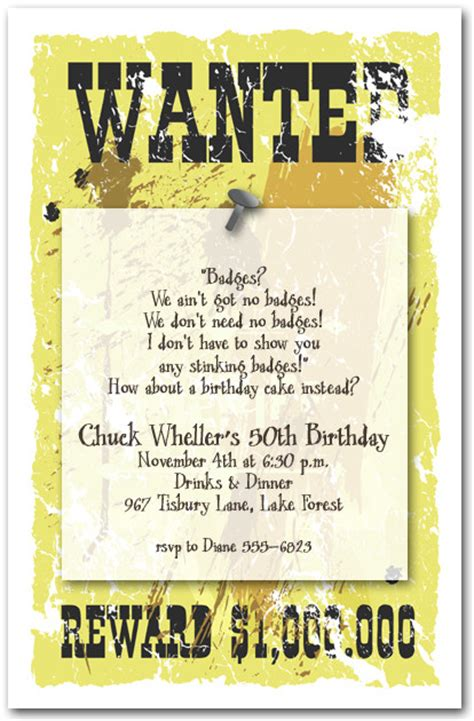 sheriff s wanted poster invitations western invitations