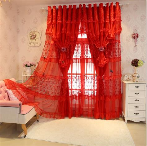 red embroidered curtains popular red lace curtains buy cheap red lace curtains lots