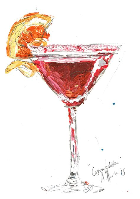cosmopolitan drink drawing cosmopolitan cocktail art print contemporary aly harte