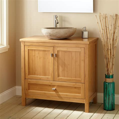 narrow vanities for small bathrooms 36 quot narrow depth alcott bamboo vessel sink vanity
