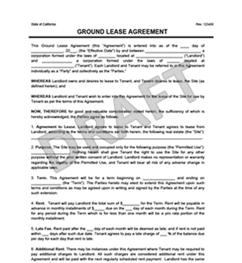 Ground Lease Agreement Print Download Legal Templates Ground Lease Agreement Template