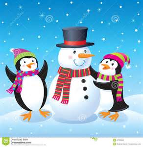 Making a snowman with a top hat and striped scarf while it is snowing