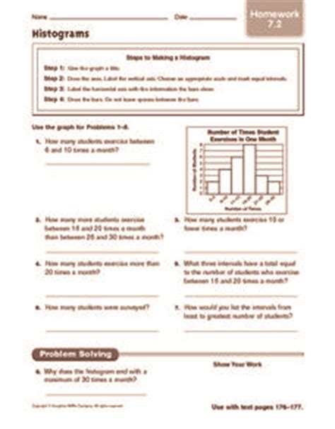 Histogram Worksheet 6th Grade by Histograms Homework 5th 6th Grade Worksheet Lesson Planet