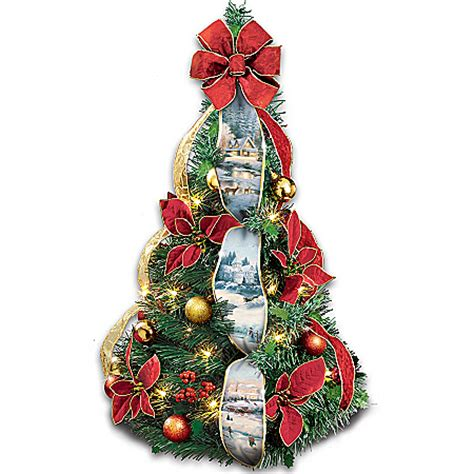 thomas kinkade snowman pre lit christmas tree sno place