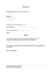 kuendigung mietvertrag vorlagen zur wohnungskuendigung