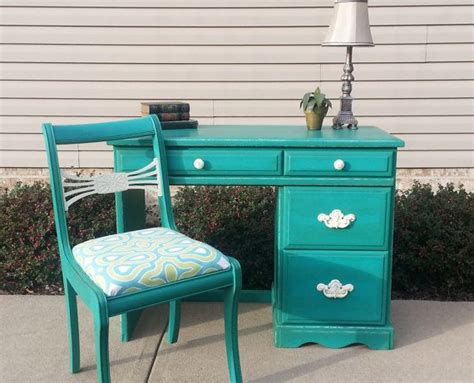 shabby chic teal desk antique chair in sloan chalk paint in f