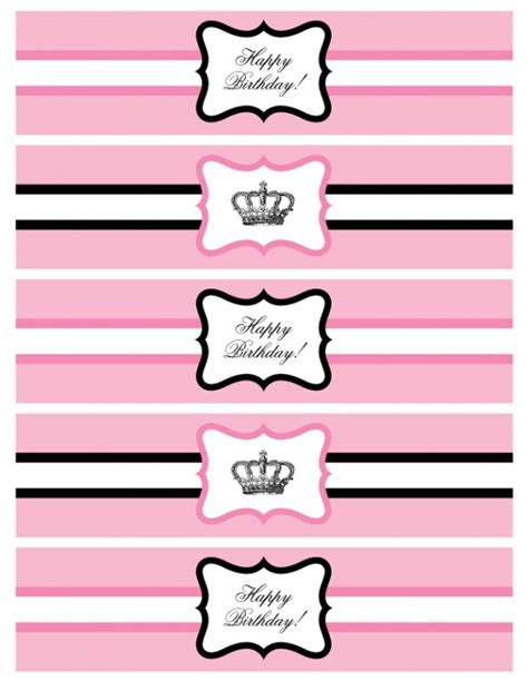 free printable party label templates free printable princess party water bottle labels