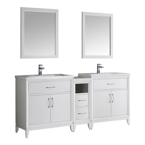 Porcelain Vanity Tops by Fresca Cambridge 72 In Vanity In White With Porcelain