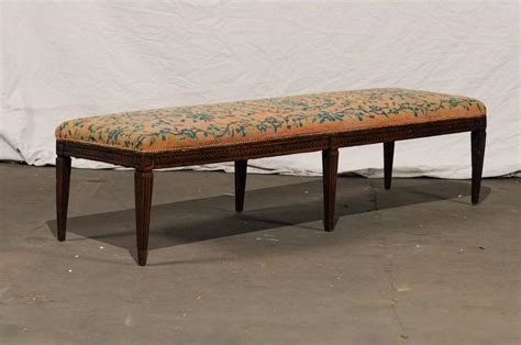 needlepoint bench 19th century long italian bench with needlepoint for sale