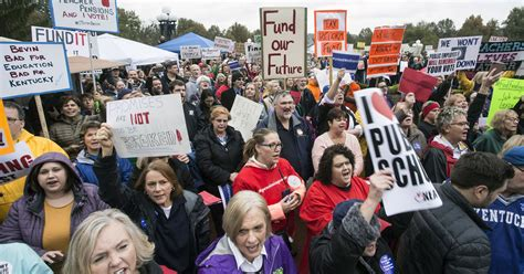 themes concerning education hundreds rally against kentucky s pension reform plan