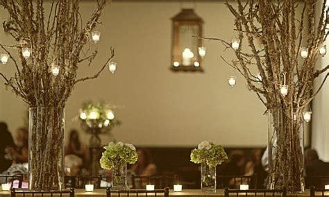 led hanging lantern lights rustic tree branch wedding