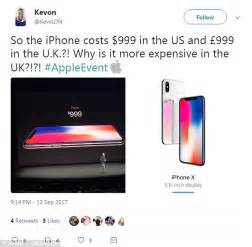 iphone x uk apple s new iphone x is 163 250 more expensive in uk than us daily mail