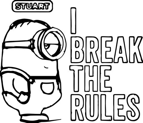 minion easter coloring page minion stuart i break the rules coloring page wecoloringpage
