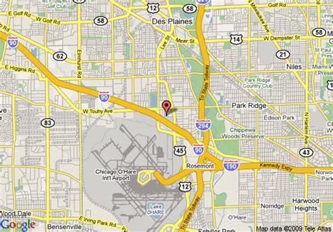 des plaines il map of residence inn o hare rosemont des plaines