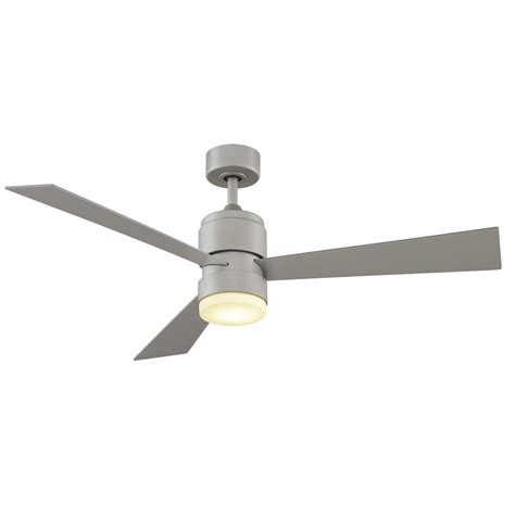 brushed nickel outdoor ceiling fan with light shop fanimation zonix 52 in brushed nickel outdoor downrod