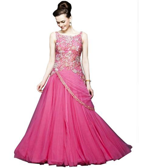 Dedigner Paety Dress Bangetttt Bun sulbha pink net gowns buy sulbha pink net gowns