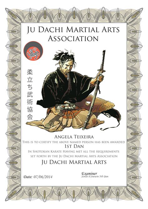 Martial Arts Attendance Card Template by Certification Judachi Martial Arts