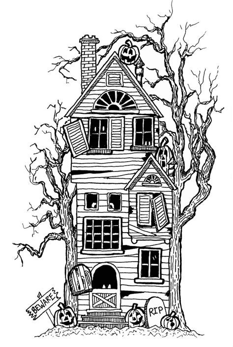 haunted house halloween coloring page az coloring pages