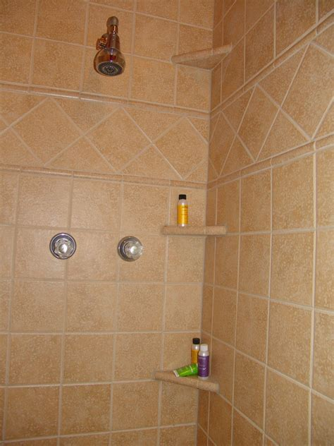 ceramic shower shelves shower shelves brown ceramic tile