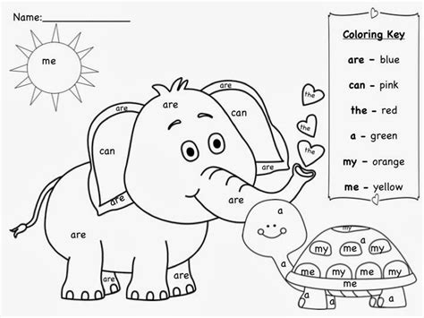 coloring page with color words sight word coloring pages printable