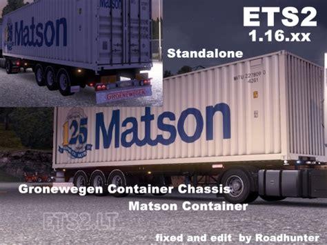 matson hyundai groenewegen chassi with matson 40 container ets 2 mods