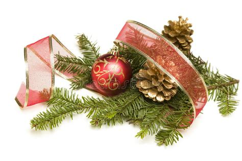 christmas ornaments bronze pinecones pine cones ornaments ribbon and pine branches on stock photo image 28020482