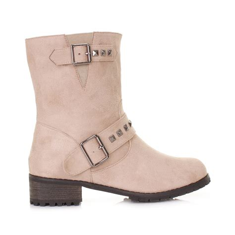 womens beige suede style studded chunky biker ankle boots