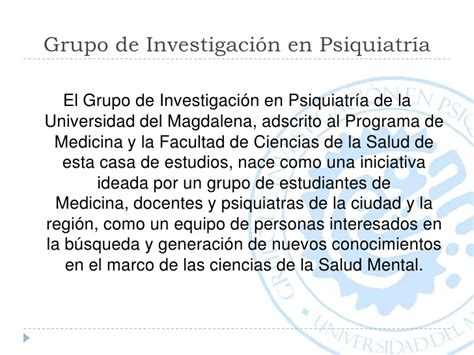 psiquiatra escuela de medicina grupo de investigaci 243 n en psiquiatr 237 a