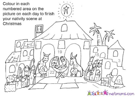 nativity advent colouring pages